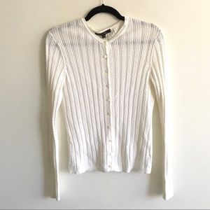 BROOKS BROTHERS Cotton Button Front Cardigan White